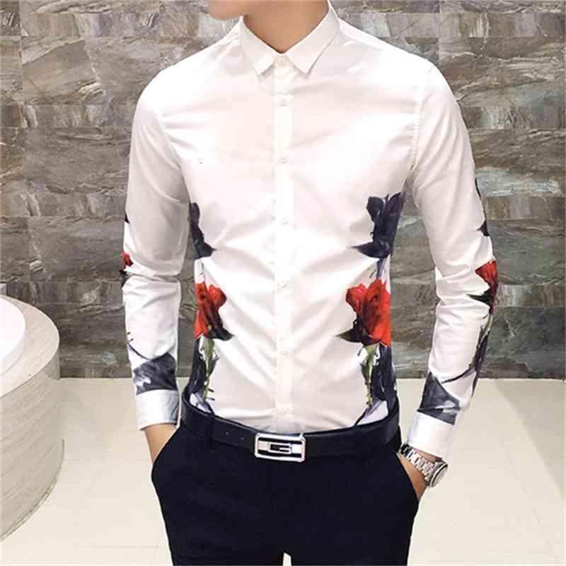 Hommes chemise imprimée à manches longues 2019 nouvelle chemise décontractée robe mince mode camisa masculina mens floral