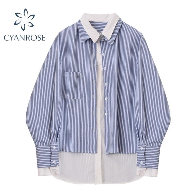 Patchwork a strisce cardigan camicie da donna a maniche lunghe boyfriend boyfriend boyfriend camicie di grandi dimensioni coreane streetwear allentati top 210515