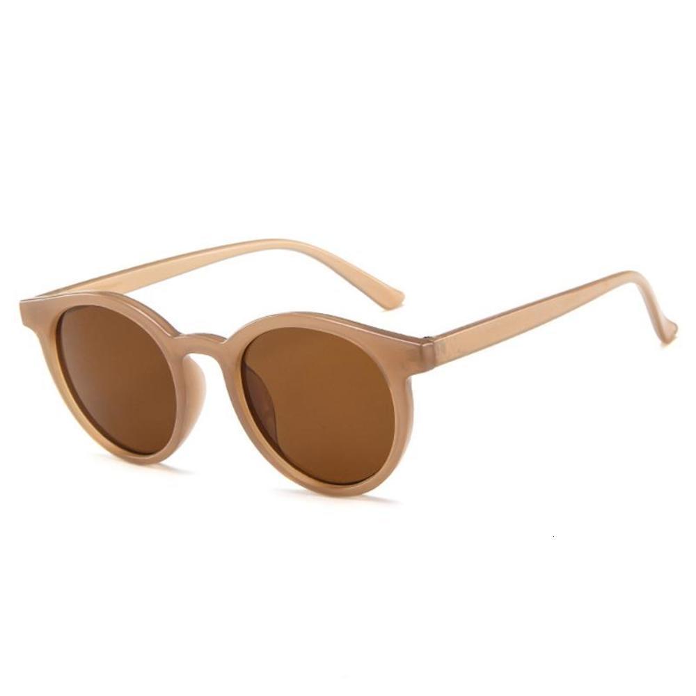 Sunglass marca dign dign mocha creme marrom mulheres rodada quadro sol vidro fêmea clara lente óculos uv400