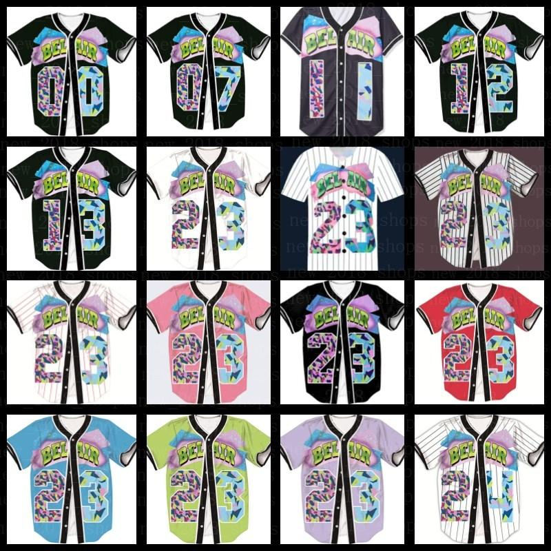 Hip Hop Baseball Jersey Loose T-shirt Verão Hipster Break Break Bel-Air Filme Vermelho Branco Rua Casual Impressão T-shirt