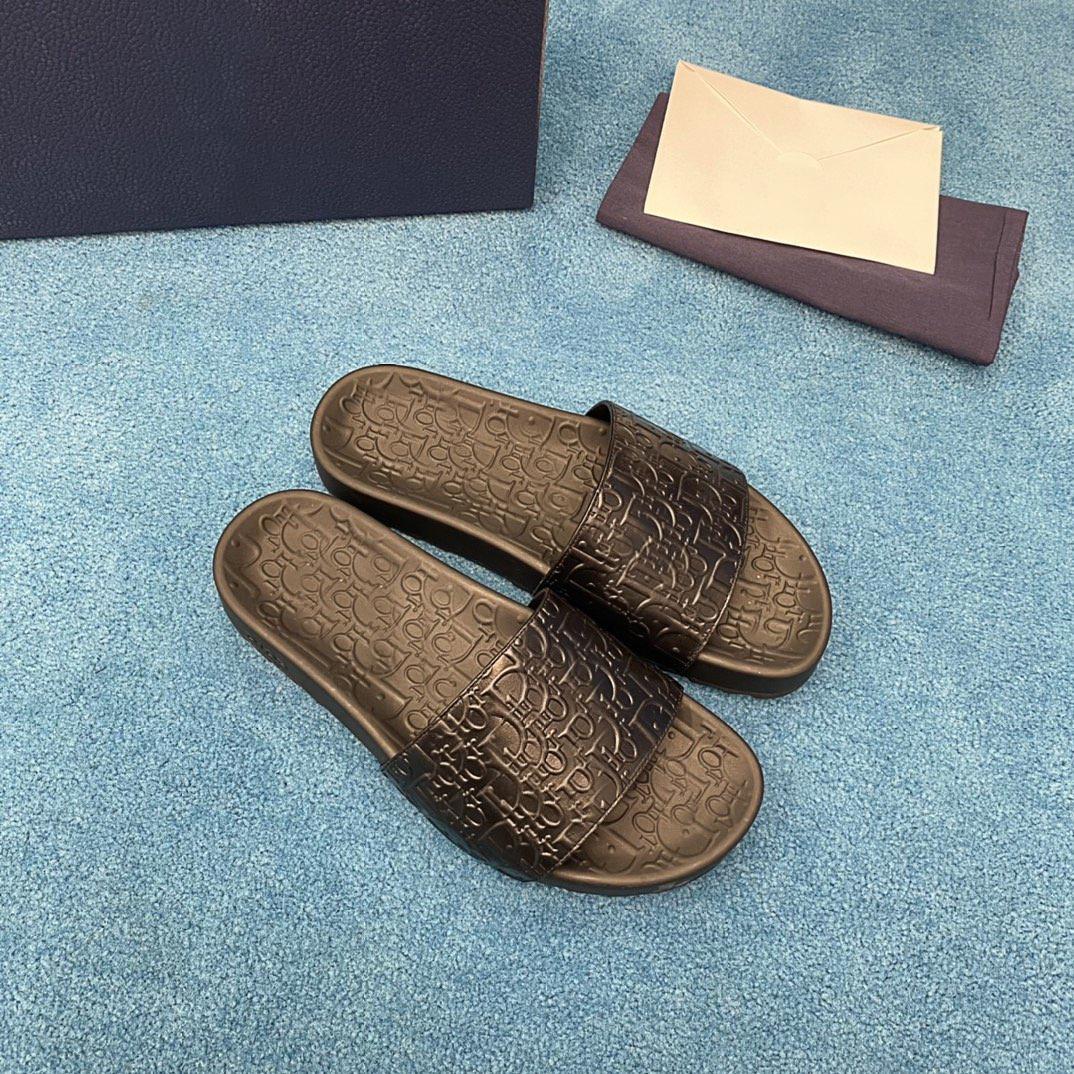 dior Lüks Moda Tasarımcısı Düz Alt Rahat Marka erkek Rahat Terlik Yaz Geniş Soled Sandalet Boyutu Vardır
