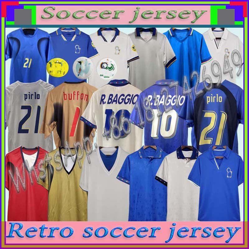 Copa do Mundo Retro Itália 1990 2000 Casa Futebol Futebol 1994 Jersey Maldini Baggio Donadoni Schillaci Totti Del Piero 2006 Pirlo Inzaghi Buffon