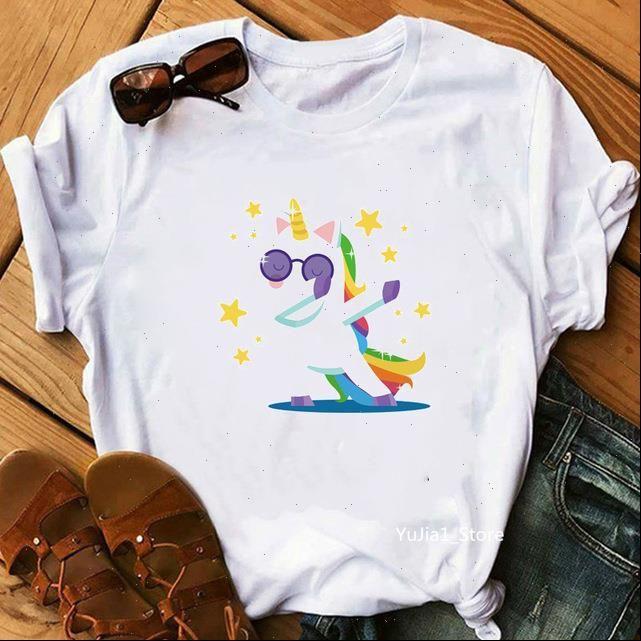 Harajuku Kawaii Unicorn Nette Womens T-shirts Cartoon 90er Jahre lustige Druckgrafik-T-Shirts