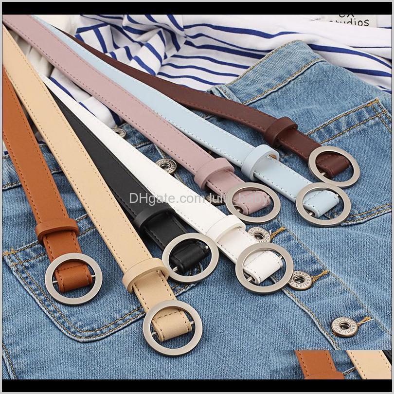 Cinturón de decoración de las mujeres de la vendimia Hebilla de círculo liso simple Slim Slim PU Cinturones S825 CA9PR DKVOA