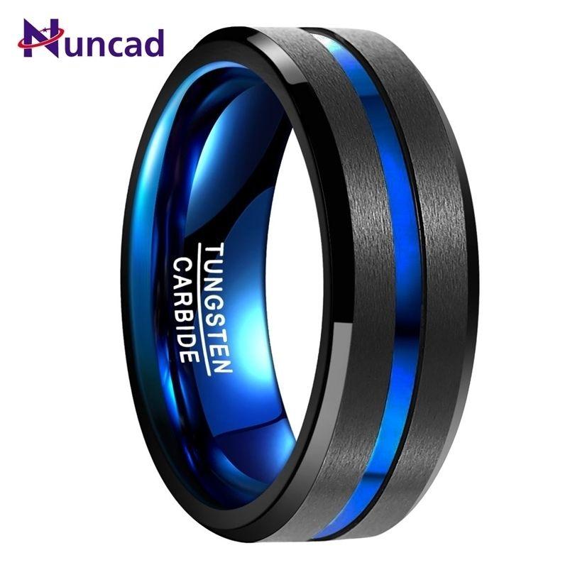 Nuncad Mens 8mm вольфрамовый карбид кольцо синий фиолетовый сталь скошенный край свадьба Размер 4-17 Комфорт Fit Продать 210701