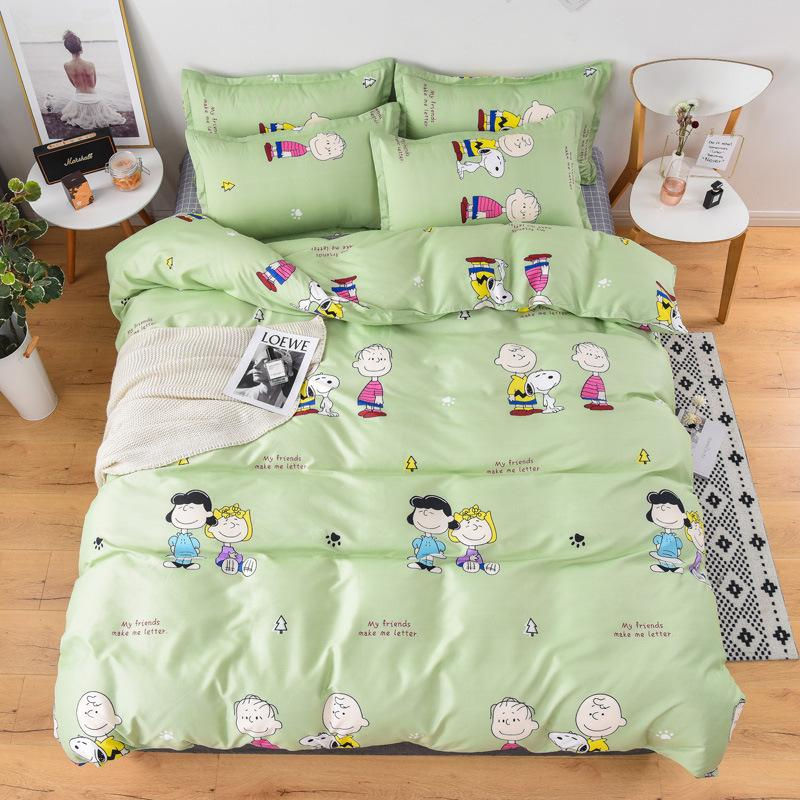 Cute Cartoon Pink Love Bedding Sets 4Pcs Modern Simple Animal Pattern Bed Linings King Duvet Cover Bed-Sheet Pillowcases Cover-Set