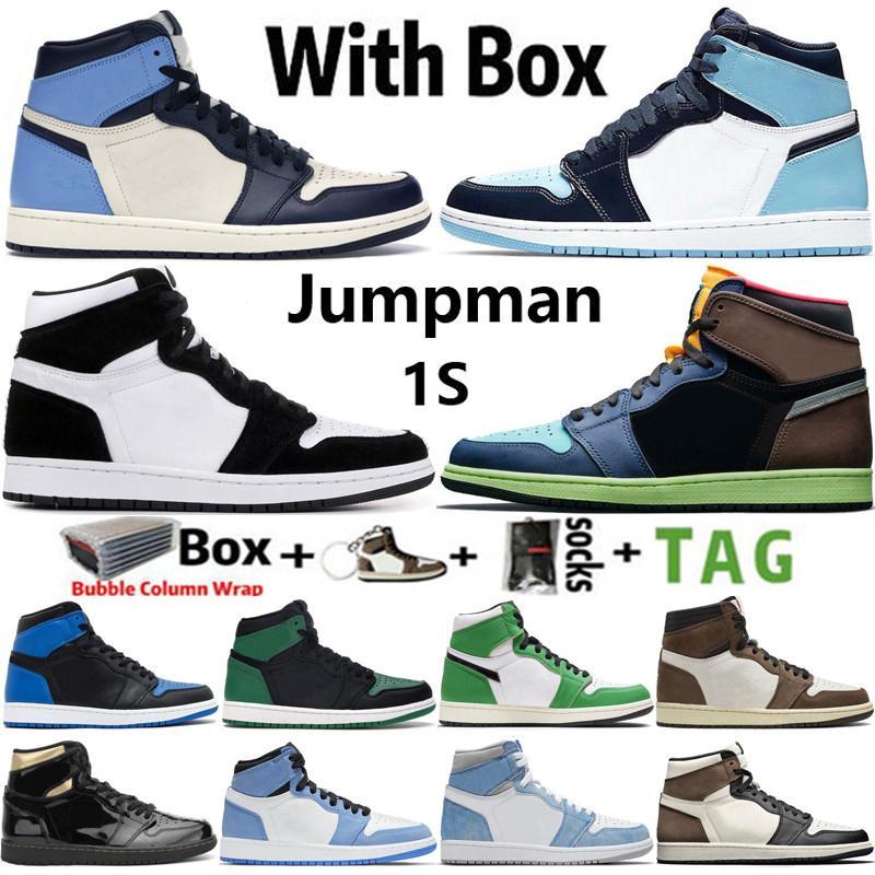 2021 Высочайшее качество Factory_Footwear с коробкой 1 1S мужская баскетбольная обувь Hyper Royal Lucky Green University Blue Creed Patent Plielen Unc Twist Men Женщины кроссовки кроссовки