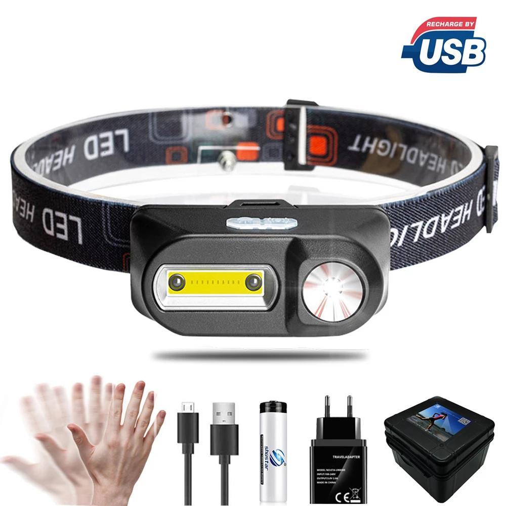 Lámpara de cabeza LED portátil XPE + COB Fairlight IR INDUCCIÓN 18650 LIGHT USB recargable impermeable impermeable antorcha potentes faros