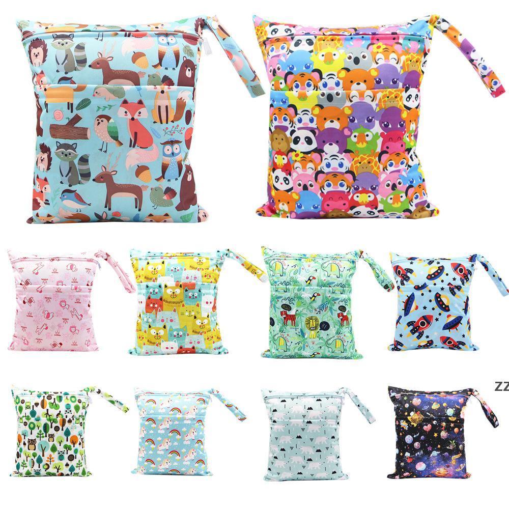 재사용 가능한 방수 패션 프린트 젖은 건식 기저귀 가방 더블 포켓 천 손잡이 젖은 30 * 36cm 도매 HWD8424