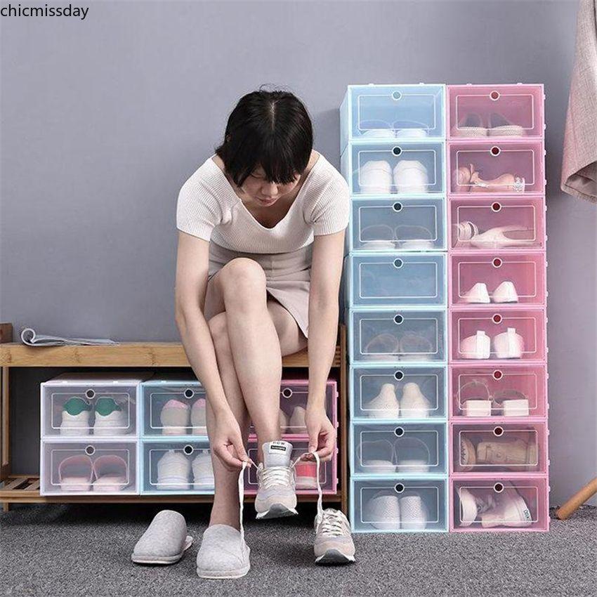 Addensare Scatola di scarpe di plastica trasparente Scatola di stoccaggio della scarpa antipolvere Flip Transparent Shoe Shoes Scatole di scarpe Candy Color Scarpe impilabili Scarpe Organizzatore all'ingrosso