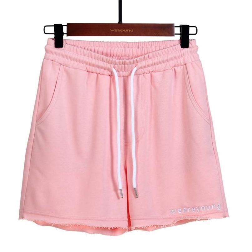 Dreiviertelhose frauen einfarbig lose lässig sportbrief gestickte shorts baumwolle hause fitness joggen kurz 210603