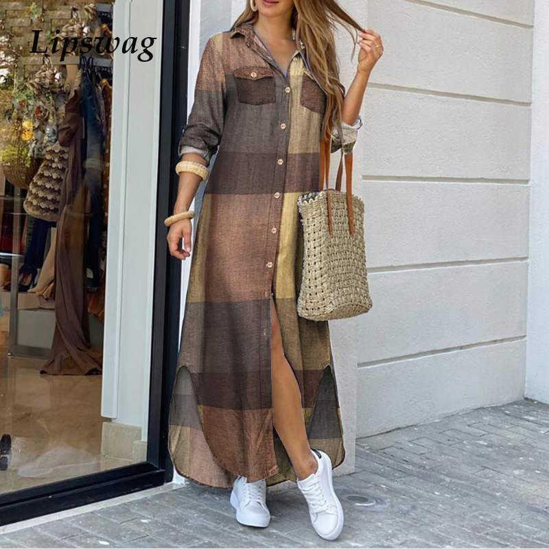 Women Turn-Down Collar Shirt Long Dress Summer Elegant Button Party Dress Casual Spring Long Sleeve Beach Maxi Dress Vestido T200914