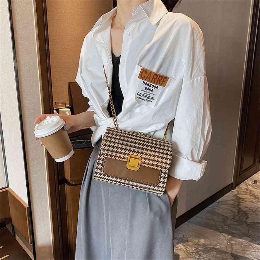 Net Red Women's New Outono e Inverno 2020 Fashion Bloqueio único ombro pequeno saco quadrado Coreano Mil Lattice Pássaro