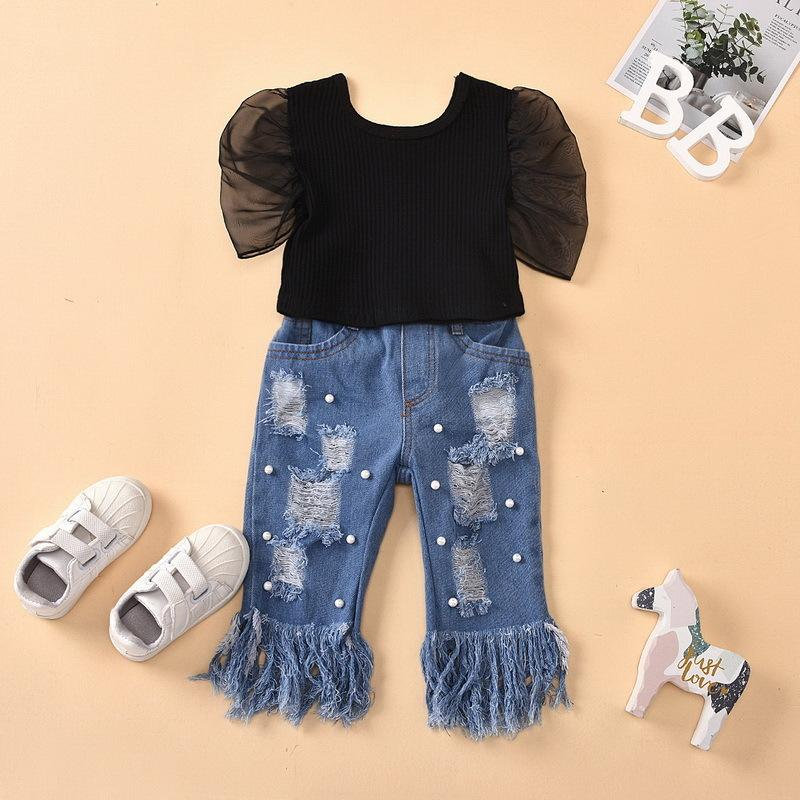 의류 세트 여름 소녀 2-pcs 검은 반팔 셔츠 + 구멍 술 테레 펄 청바지 키즈 복장 E1789 TY03