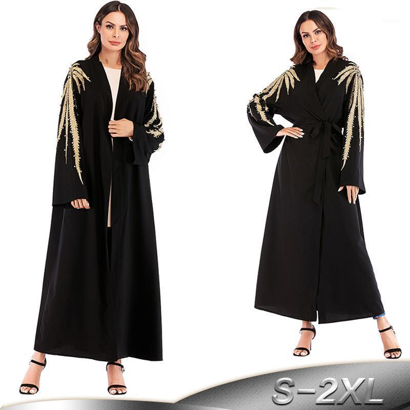 Abaya Dubai Kaftan 이슬람 터키 자수 카디건 이슬람교 히 자브 드레스 가운 카타르 Caftan Abayas 여성 터키 이슬람 의류 1