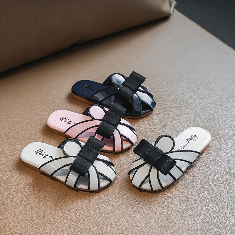 Slipper Girls Shoes Slippers 2021 Summer Korean Wild Bow Baby Girl Sandals Children's Fashion Outer Wear Kid Slides