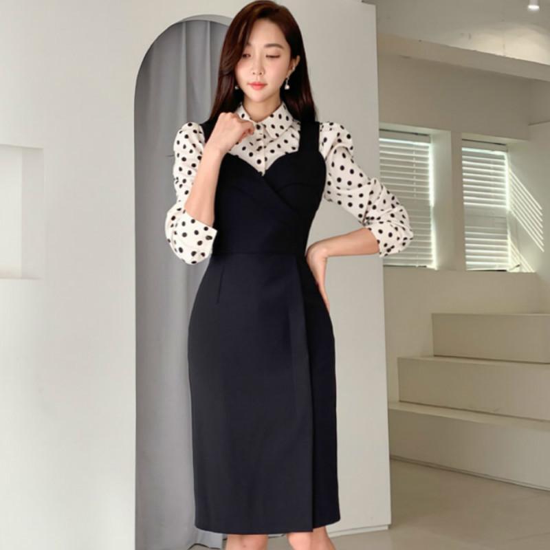 Novo Two Parte Sets Feminino Pano Ponto Imprimir Blusa Correia Preto Midi Lápis Vestidos Mulheres Femininas Office Bodycon Dress