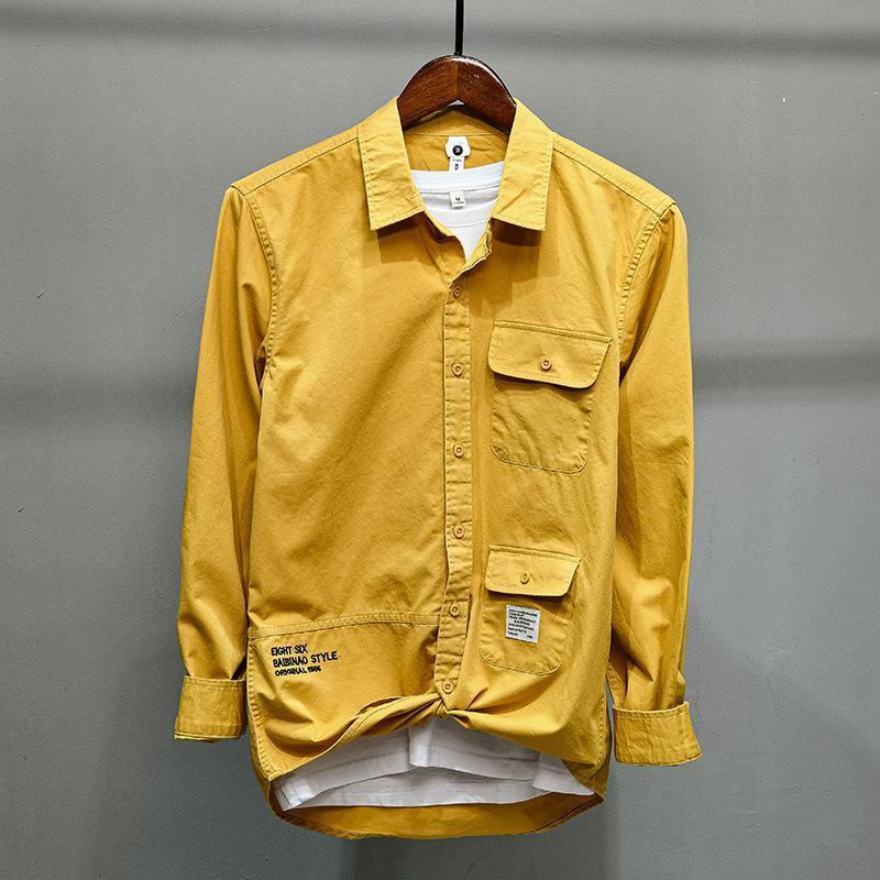 100 % 코튼 고품질 남성 멀티 포켓화물 셔츠 편지 인쇄 패치 워크 일본 스타일 간단한 슬림 클래식 빈티지 블라우스 남성 캐스카