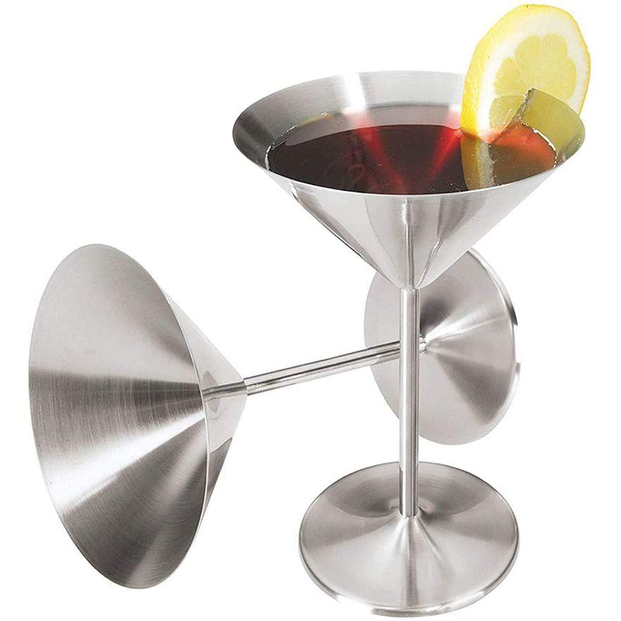마티니 칵테일 안경 200ml 스테인레스 스틸 구리 도금 샴페인 유리 토스트 컵 레드 와인 잔 홈 바 결혼식 파티 음료