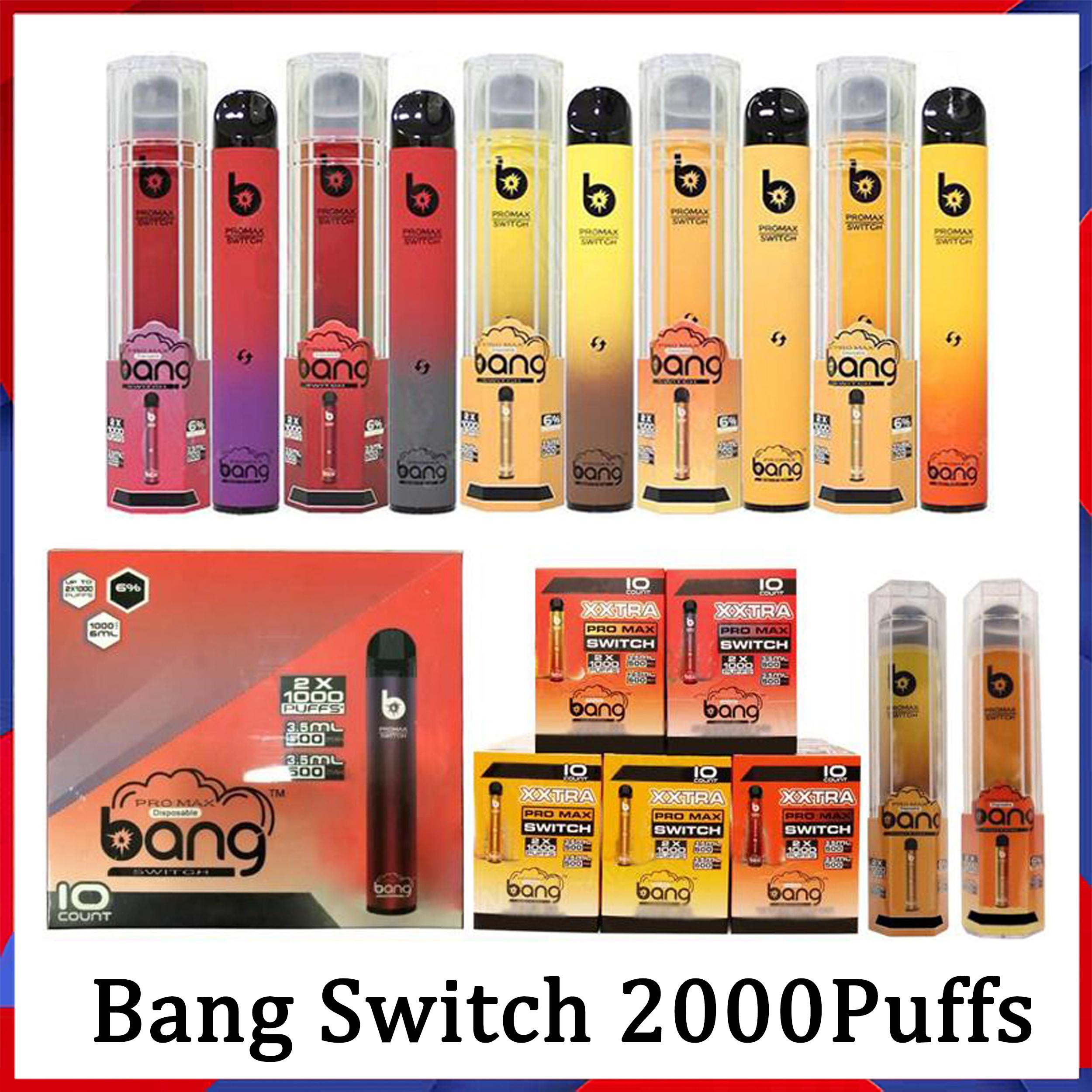 Bang XXL Pro Max Anahtarı 2 in 1 Çift Pods Tek Kullanımlık E Sigara 1000 + 1000 Puffs Vape Kalem Kartuşu 2in1 Buharlaştırıcı Puf Labs Canavar