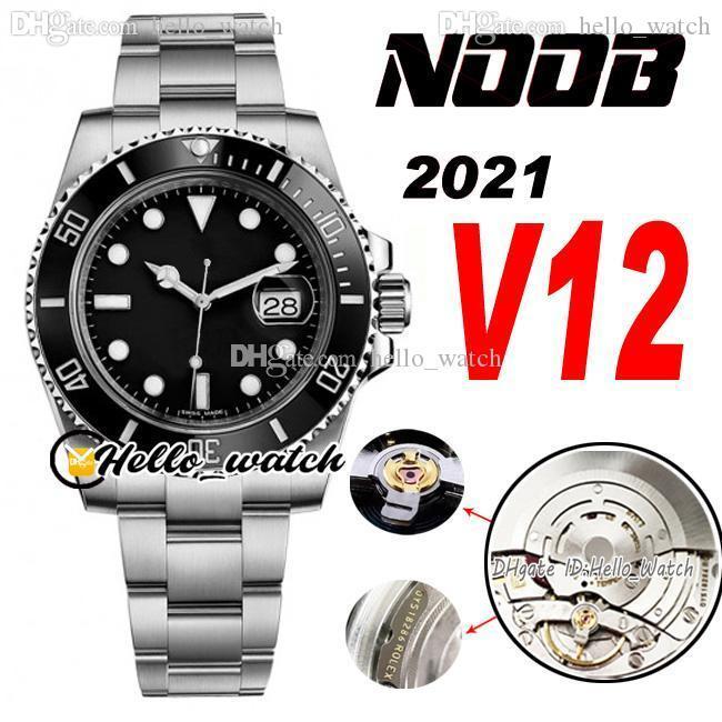 2021 N V12 116610 SA3135 Automatic Mens Watch Black Ceramics Bezel و Dial 904L Steel Stricelet Ultimate Super Edition (امتصاص الصدمات الصحيح) ساعات Hello_Watch