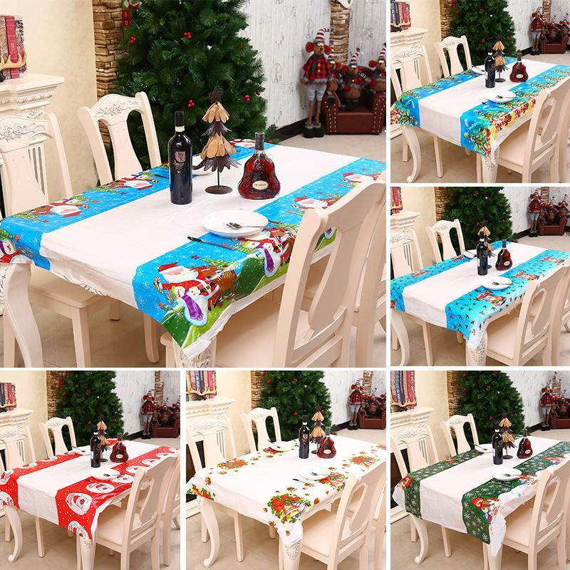 Table Cloth Waterproof Christmas Tablecloth Rectangular Xmas Printed Cover Mats Decoration For Home 1pcs