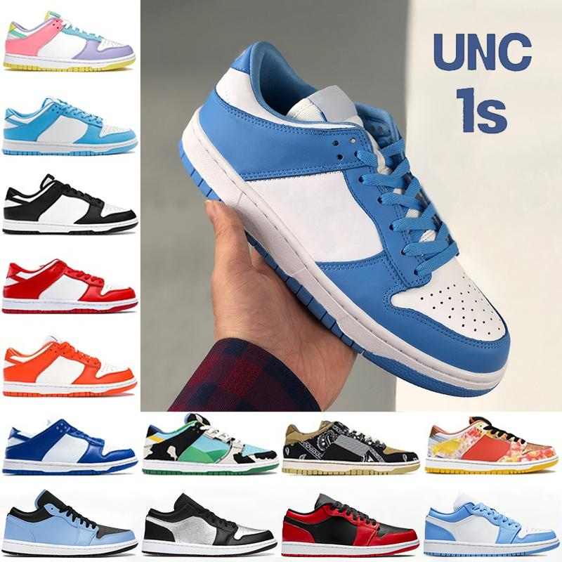 2021 Unc Costa 1 1S Hombres Zapatos de baloncesto Chunky Dunky Light Smoke Grey White University Blue Black Panda Bajo Mujeres Sneakers