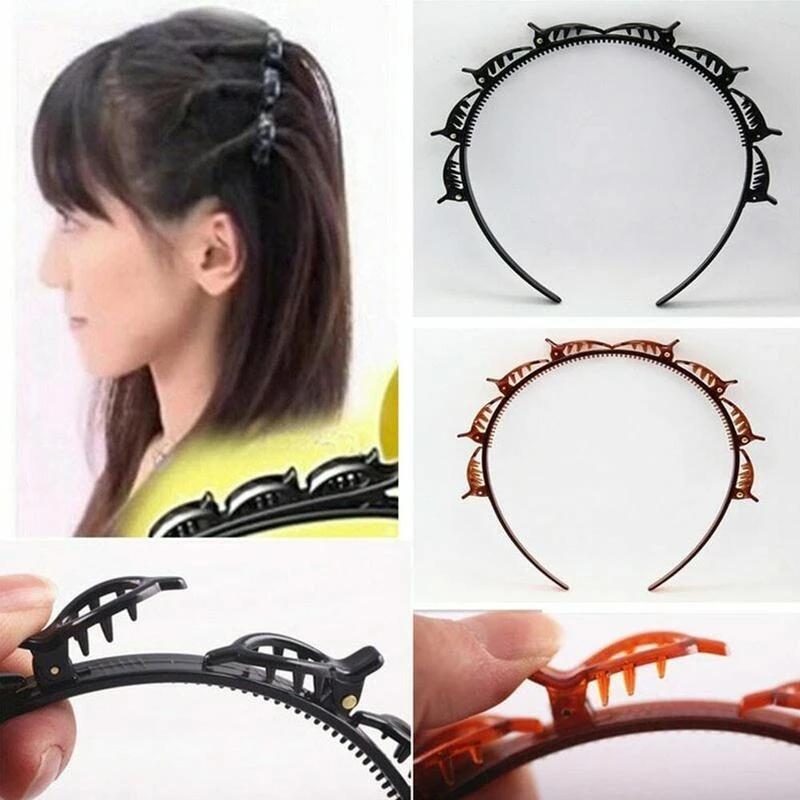 6 pcs bangs headband com 8 pcs clipes moda onda zigzag banda entalhada pente headbands mulheres trança cabelo penteado acessórios de cabelo