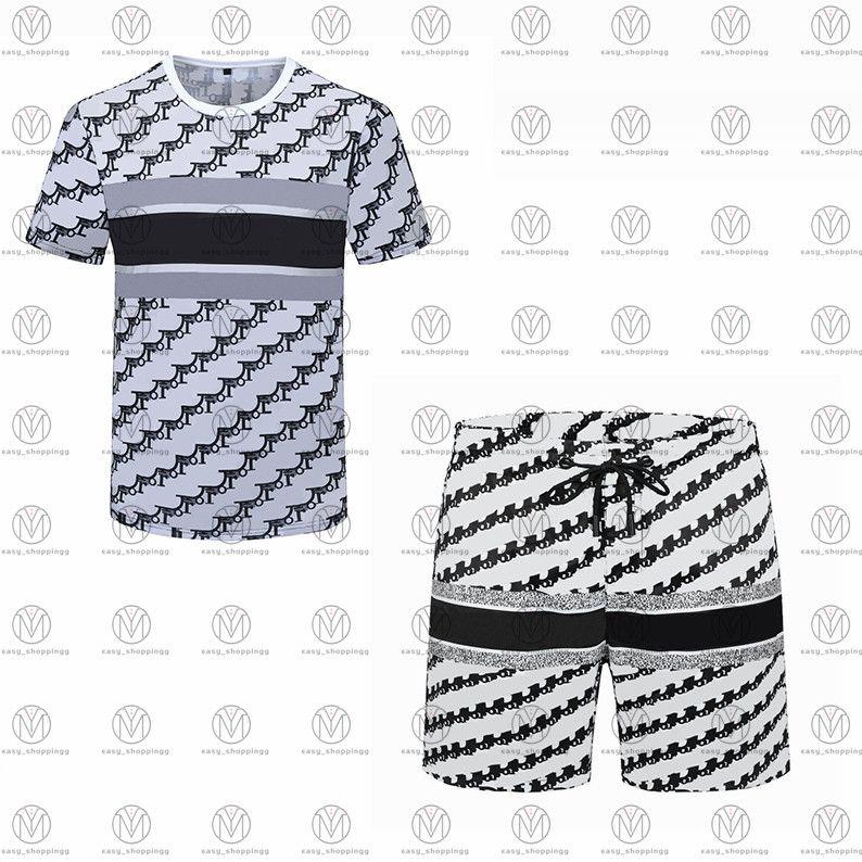 21Ss Mens Beach Designers Tracksuits Ternos de Verão Moda T Shirt Camisas Beats Conjuntos Calções Conjuntos Homem Luxo Casual Esportes Outfits Sportswears 2021 M-3XL