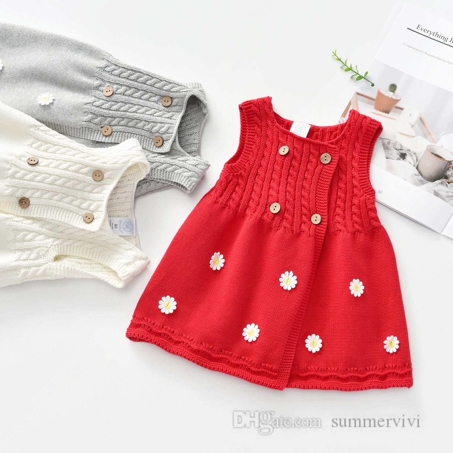 INS girls stereo flowers applique vest dress kids twist knitted sweater princess dresses christmas children party clothing Q2360