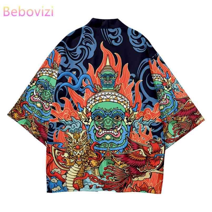 2 stücke Anzug Plus Größe XS-6XL Lose Idol Print Japanisches Samurai Harajuku Kimono Strickjacke Frauen Männer Cosplay Yukata Tops Hosen Set 210603