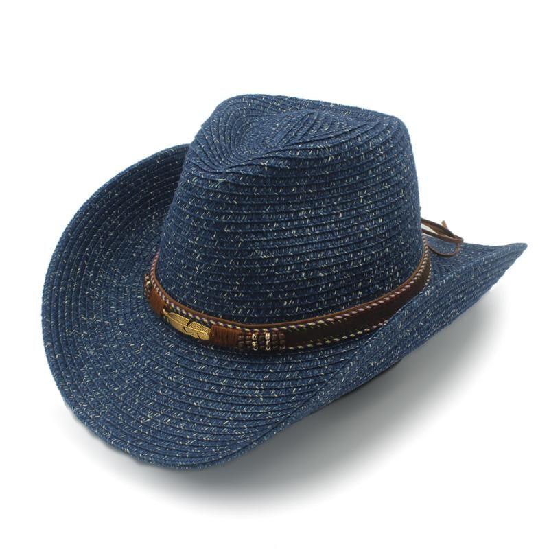 Stingy Rand Hüte 2021 Sommer Strohfrauen Männer Hohle Sonnenhut mit Mode Leder Western Cowboy