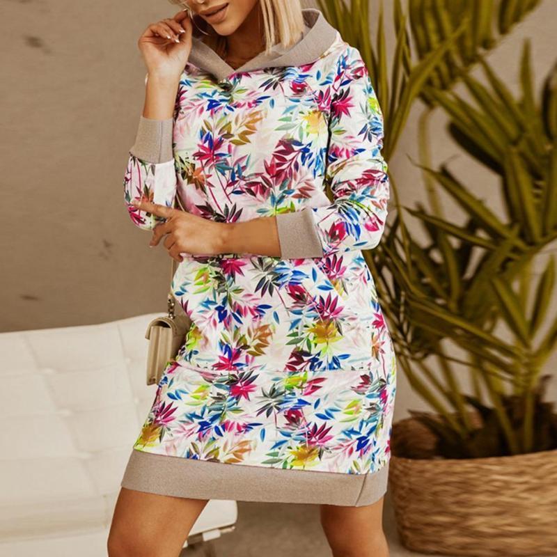 Donne costumi da bagno donne con cappuccio vestito fiore stampa grande tasca autunno inverno allentato manica lunga a manica lunga streetwear elegante
