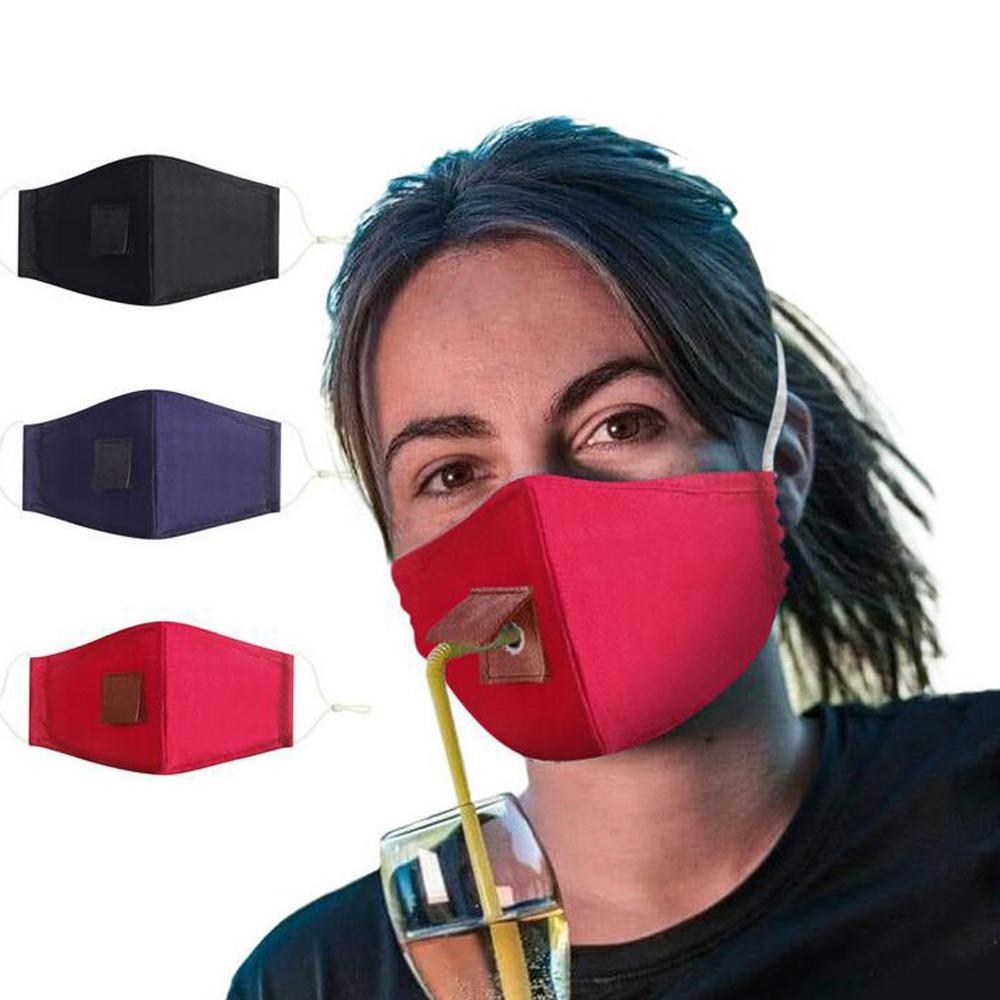Maschera per la maschera per la maschera del viso del cotone degli adulti con foro per la maschera antipolvere lavabile riutilizzabile della paglia Maschere di copertura della bocca delle maschere di copertura