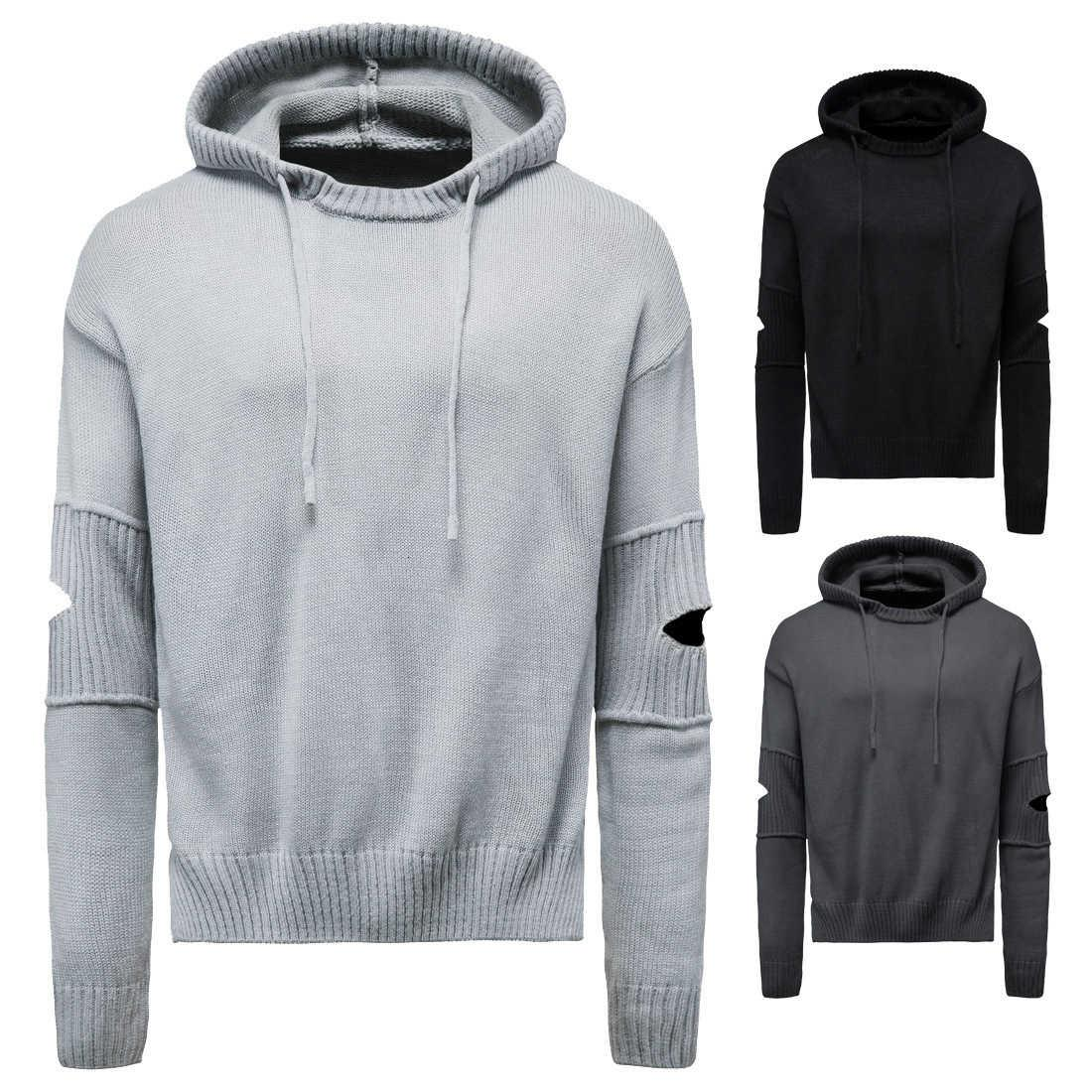 2021 autumn solid color versatile T-shirt young men's Sweaters personality trend handsome hooded Pullover