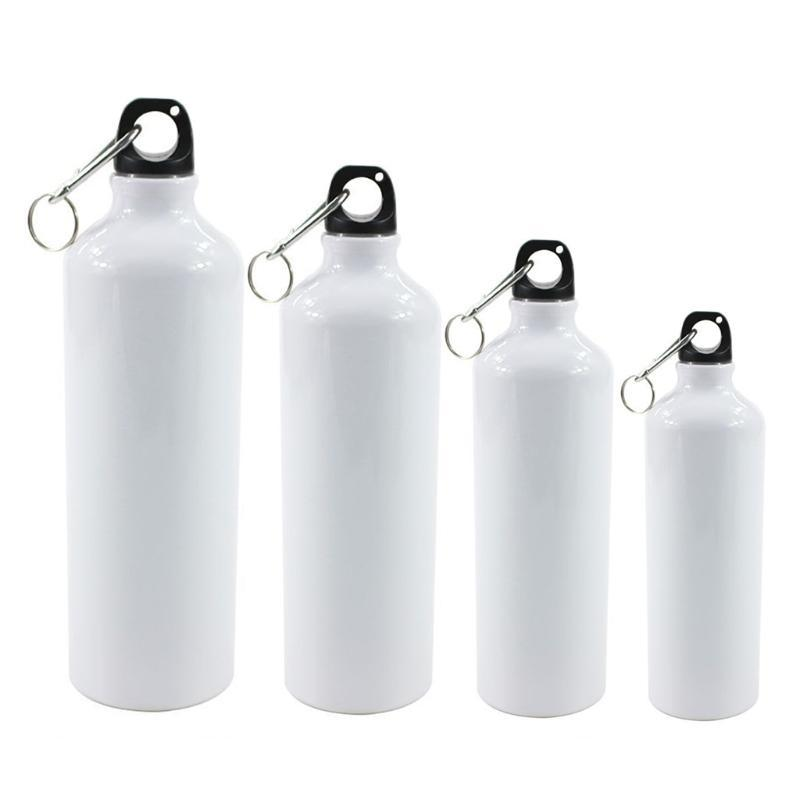 Water Bottles 400/500/600/750ml White Blank Sublimation Bottle With Carabiner Aluminum Outdoor Sport Kettle For Heat Press Print 0514
