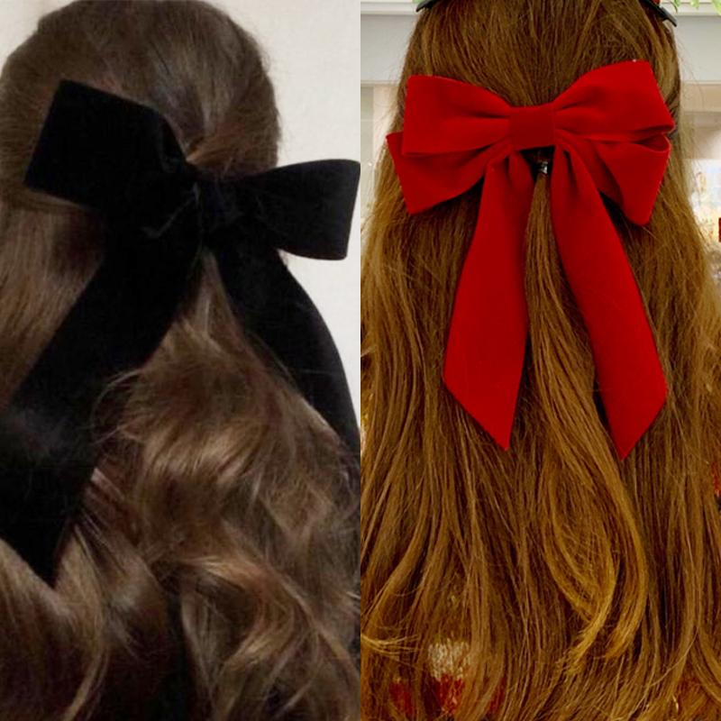 Sweet Oversize Velvet Hair Clip Barrettes Hairpins For Women Girls Fashion Pink Big Bow Barrette Hairgrip Accessories Gift