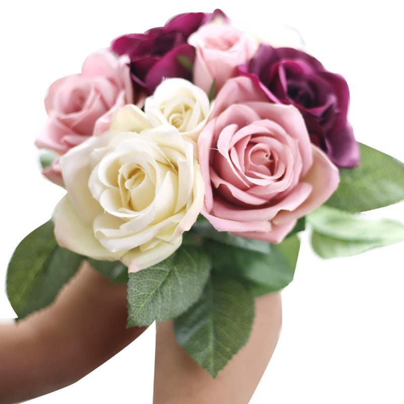 Flores decorativas grinaldas 9 cabeças de seda artificial folha falsa rosa casamento decoração floral buquê decoração de casa peony flor faux