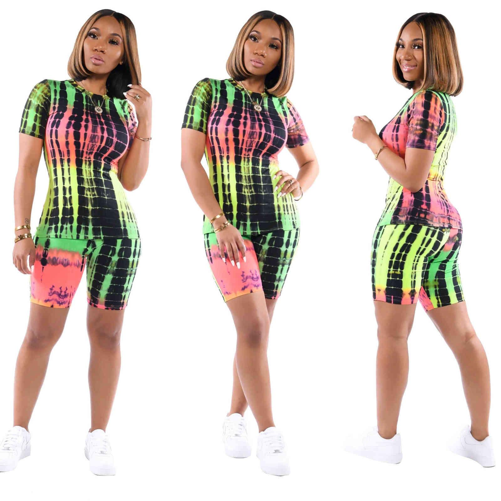 Women Tracksuits Short Sleeve Outfits 2 Piece Set casual printing sports Letter summer Womens Clothing