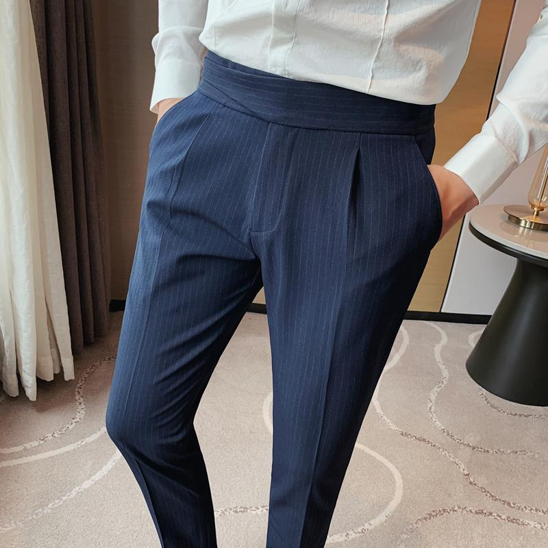Costume à rayures de mode pantalon slim masculin fit maigre de haute qualité bureau fête affaires occasionnel costumes formels blazers