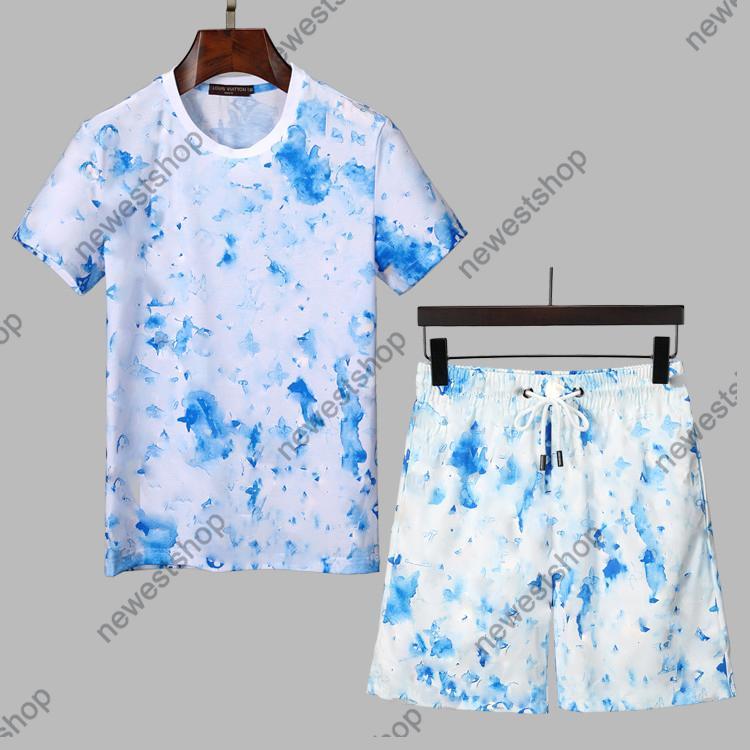 Conjuntos de chándales de diseñador Conjuntos de letras para hombre Impresión de impresión Trajes de carrera Camiseta Moda Graffiti Imprimir Manga corta Sportswear Shirt M-XXXL