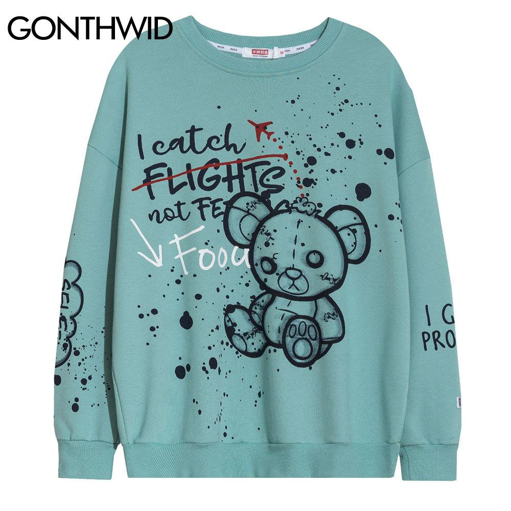 Gonthwid Encre Graffiti Pattern Pattern Sweatshirts Sweats Hoodies Harajuku Hip Hop Pullover Streetwear 2021 Mens Hommes Casual Tops