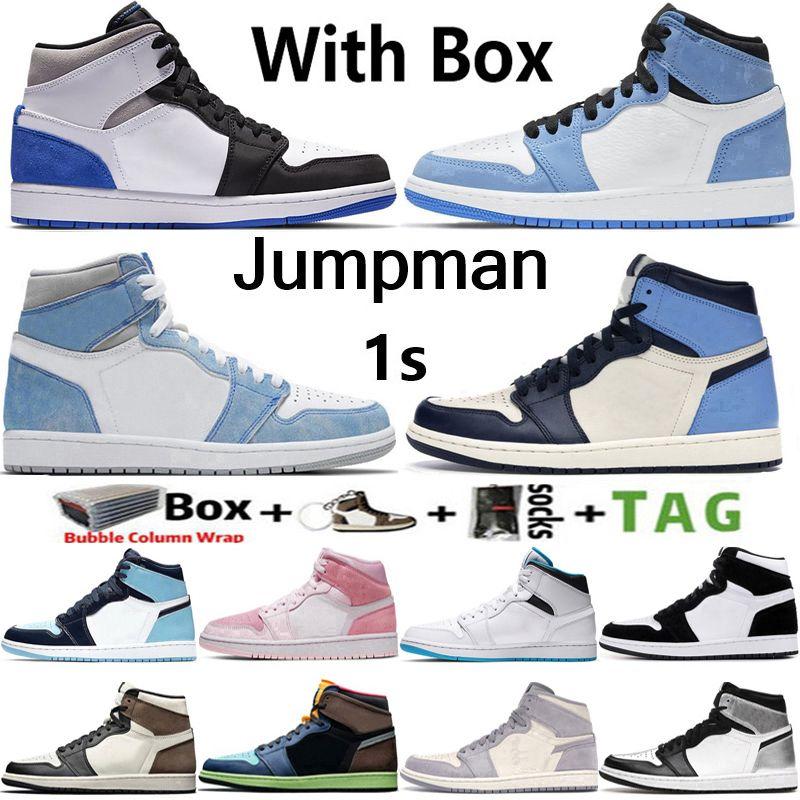 2021 Kutusu Jumpman 1 Üniversite Mavi Şanslı Yeşil 1 S Erkek Basketbol Ayakkabıları Koyu Mocha Obsidiyen Twist UNC Volt Altın Kadın Sneakers Eğitmenler