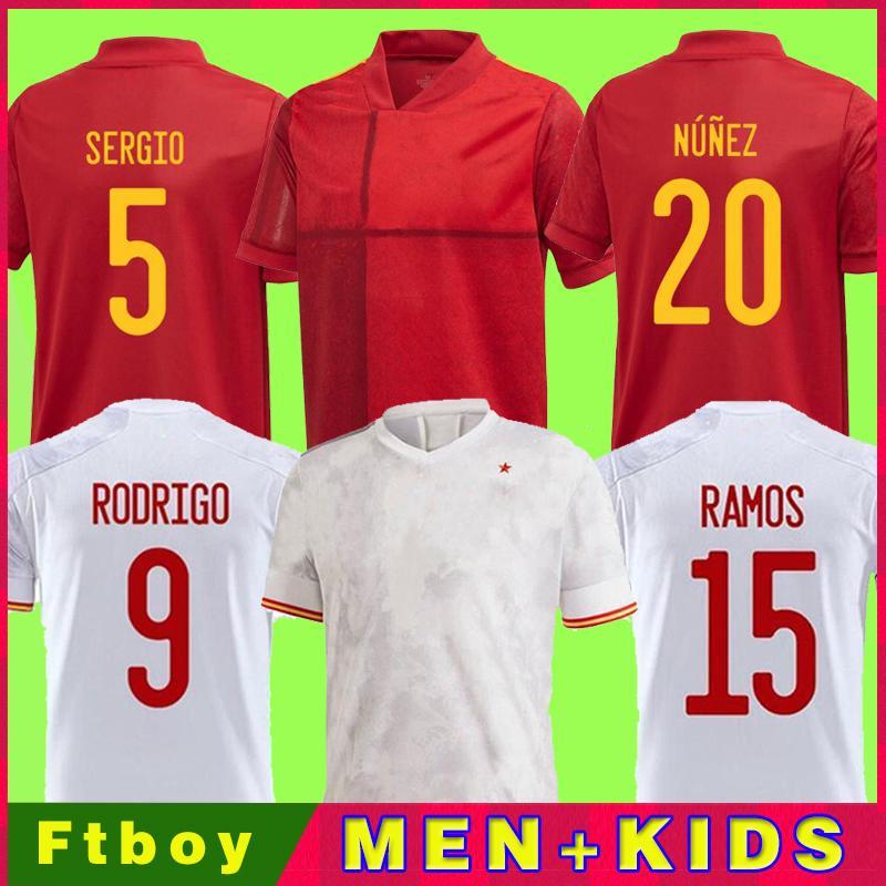 2021 Espanha Jersey Jersey Versão Camiseta España Paco Morata A.iniesta Pique 20 21 Alcacer Sergio Alba Homens Mulheres Kits Kits uniformes