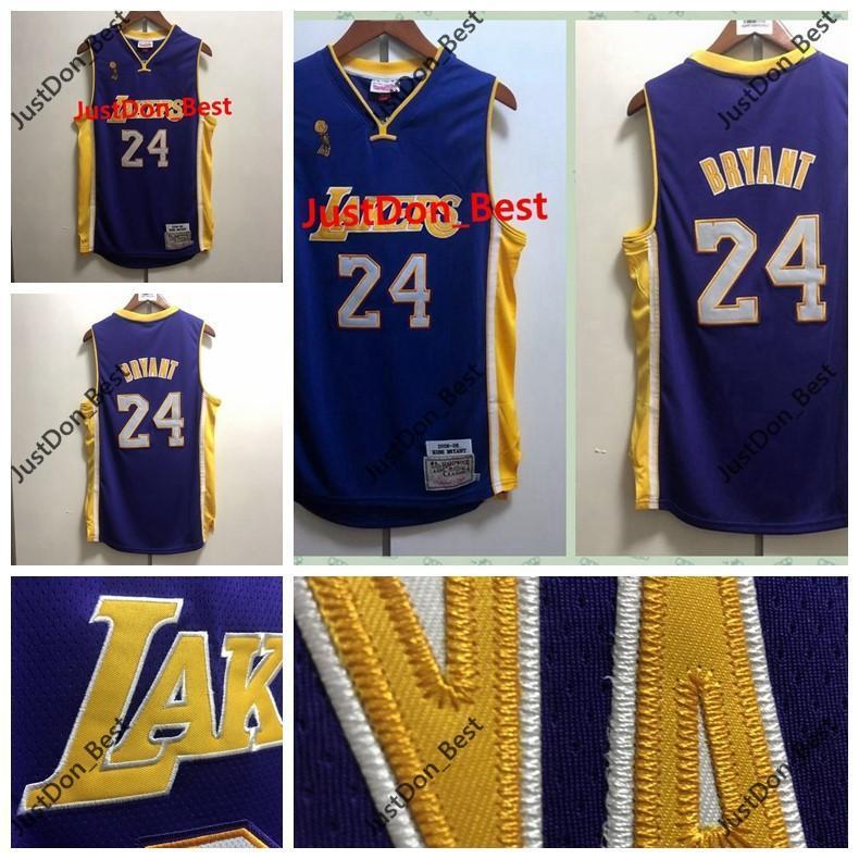 Hot MensLosAngelesLakers24BryantJerseys Purple Mitchell & Ness 08th 09th Basketball Champion Jerseys