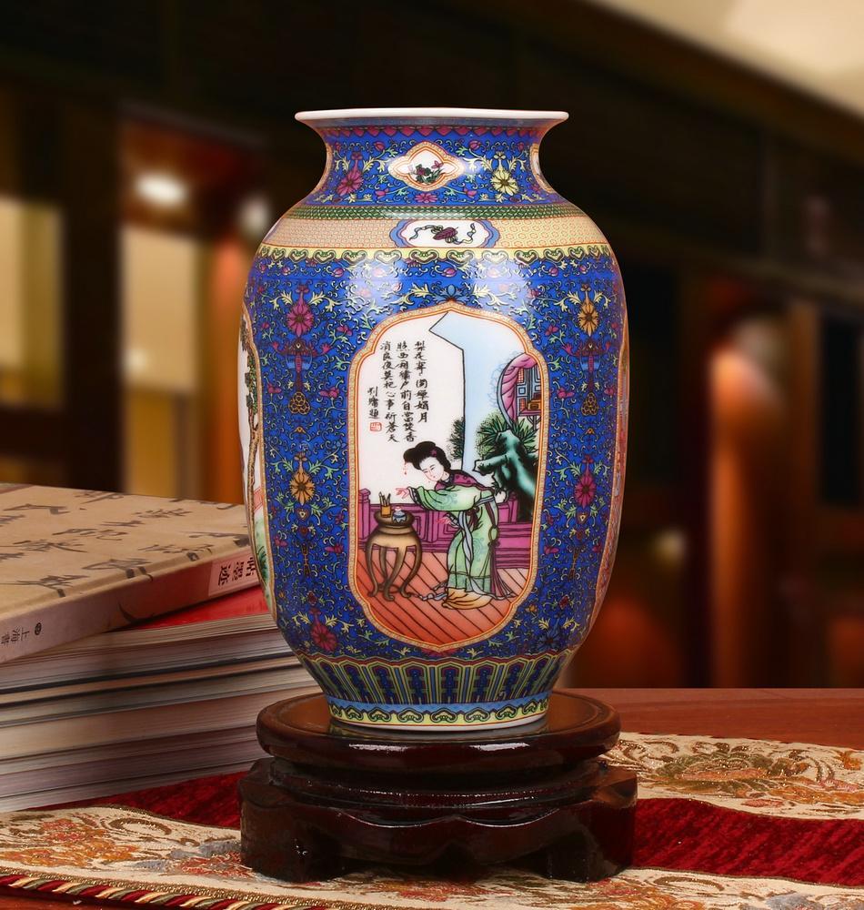 Jingdezhen Vase Céramique Enamel Quatre beautés anciennes Four Vases Décoration de la maison