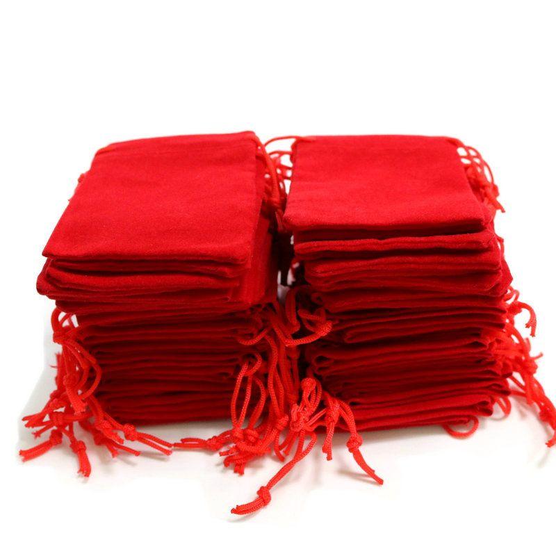 100 pz 5x7cm Velvet Coulisstring Sacchetto / Borsa per gioielli Natale / Borse regalo di nozze Black Red Rosa Blu 4 colori all'ingrosso 586 T2