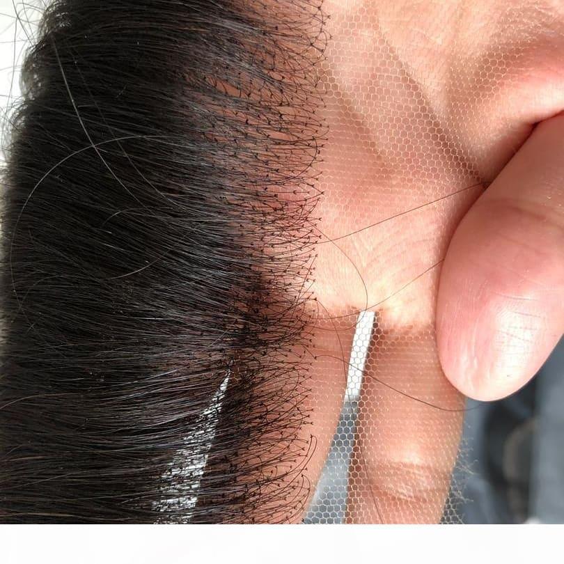 HD İsviçre Dantel Frontal Kapatma İnsan Saç 5x5 13x4 Ağartılmış Knot Bakire Düz Tam Dantel Frontal Parça Kulağa Kulak