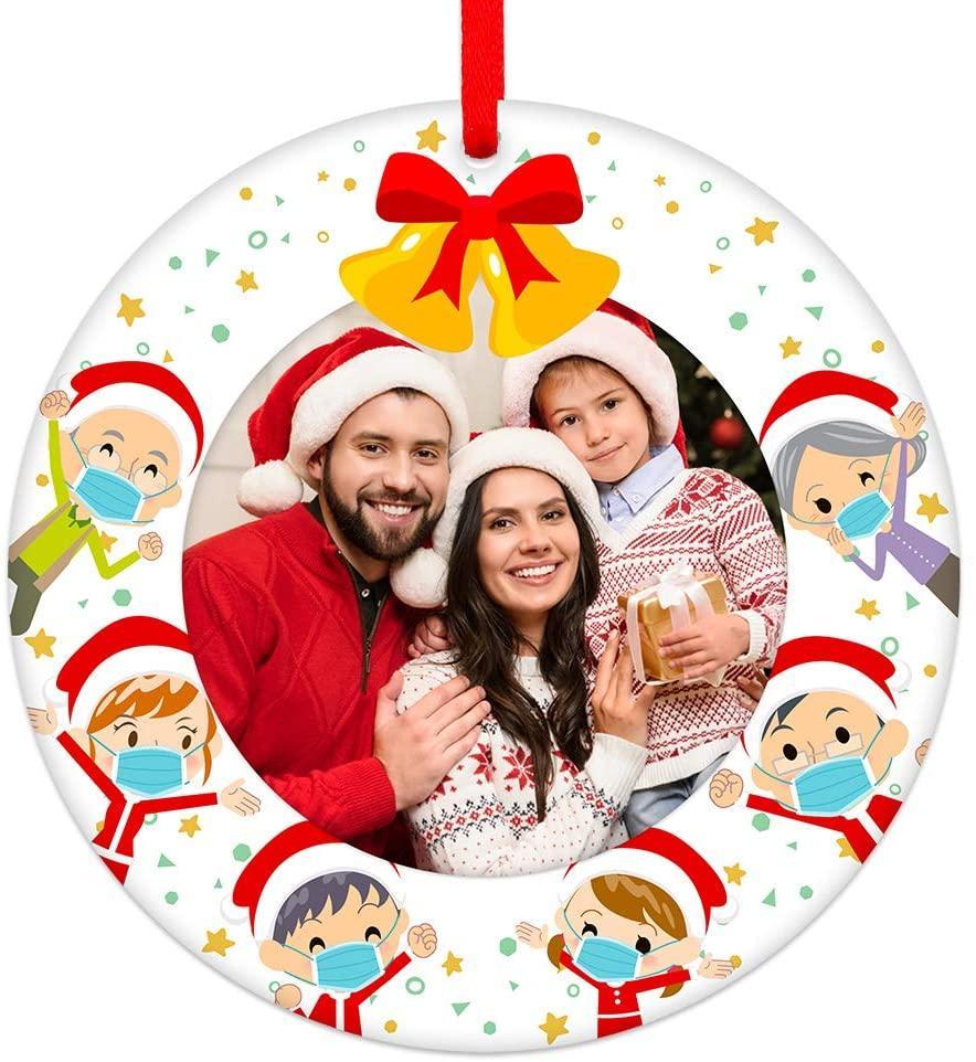 """الحجر الصحي زخرفة عيد الميلاد 3 """"عيد الميلاد أسرة الإطار زخرفة شاكرين للعائلة معا 2021 قناع الوجه شجرة عيد الميلاد زخرفة"""