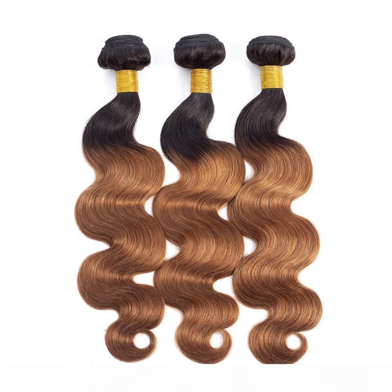 Brasilianisches peruanisches indisches Malaysisches menschliches Ombre-Haar 1b 30 Farbkörperwellenhaarbündel 3-Stücke Lot 10-28 Zoll Haarverlängerung